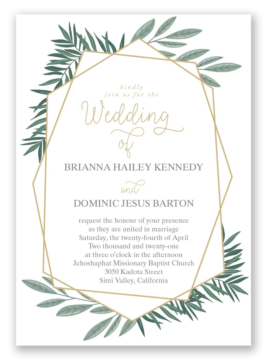 Opulent Lines wedding invitation by Invitations by Davids Bridal