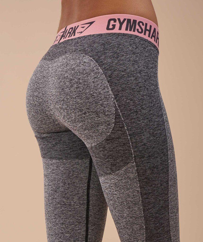 55d59618938475 Gymshark Flex Leggings - Charcoal Marl/Peach Pink | Fitness ...
