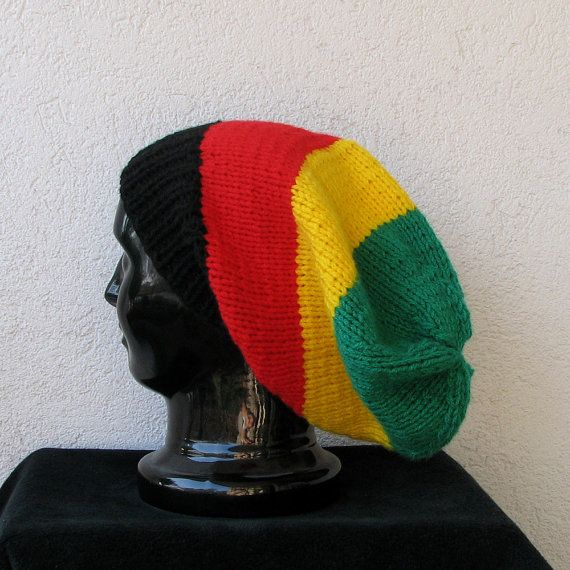 Bob Marley reggae rasta colors oversized beanies hats for dreadlocks ...