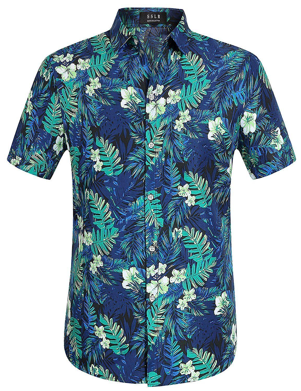 868df741393 SSLR Men s Jungle Prints Casual Short Sleeve Aloha Hawaiian Shirt  Amazon .co.uk  Clothing
