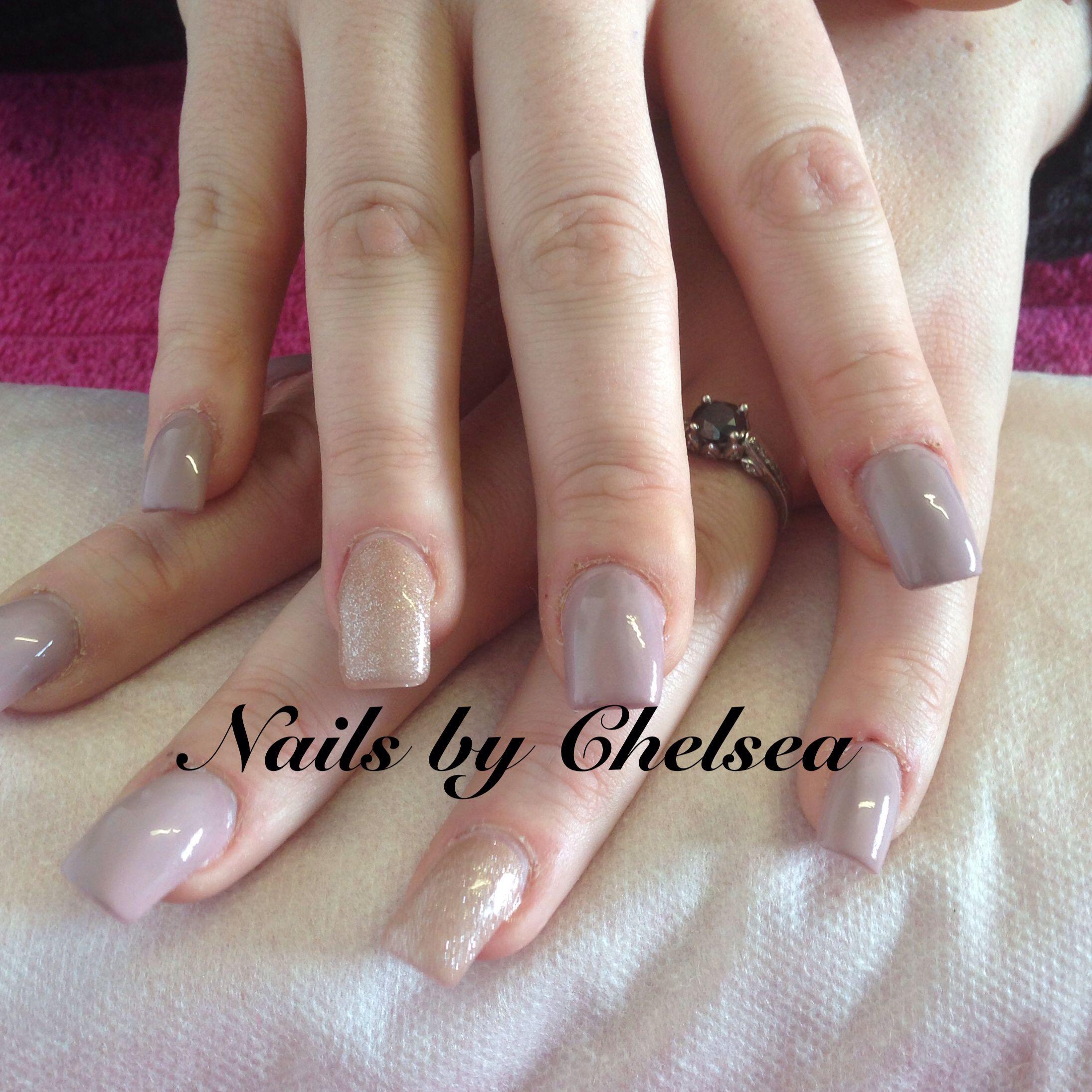 Square Acrylics With Neutral Toned Nina Polish! Nails By