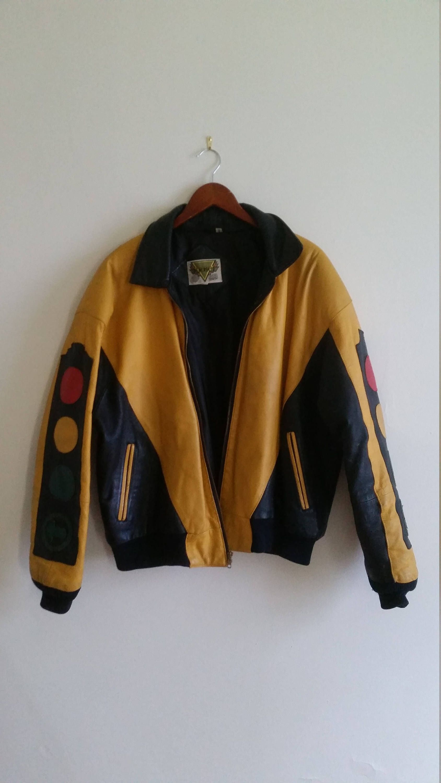 Retro Bomber Jacket Vintage Bomber Jacket 1980s Grunge Biker Jacket Yellow And Black Leather Traffic Light Motif Men S Large Bomber Jacket Vintage Bomber Jacket Jackets [ 3000 x 1688 Pixel ]
