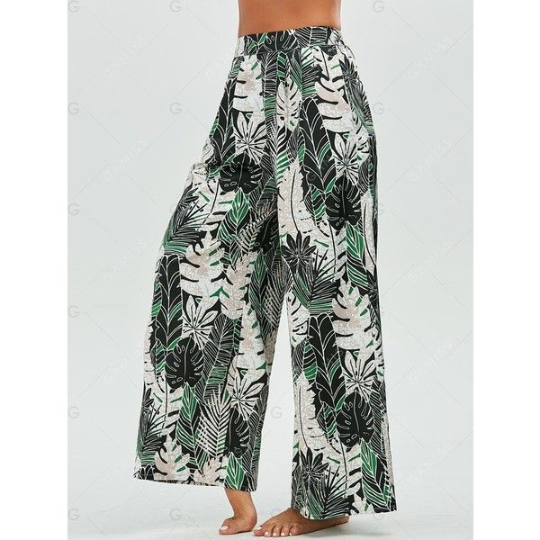 Tropical Leaf Print Palazzo Pants (1.005 RUB) ❤ liked on Polyvore featuring pants, green trousers, green palazzo pants, green pants, palazzo trousers and palazzo pants