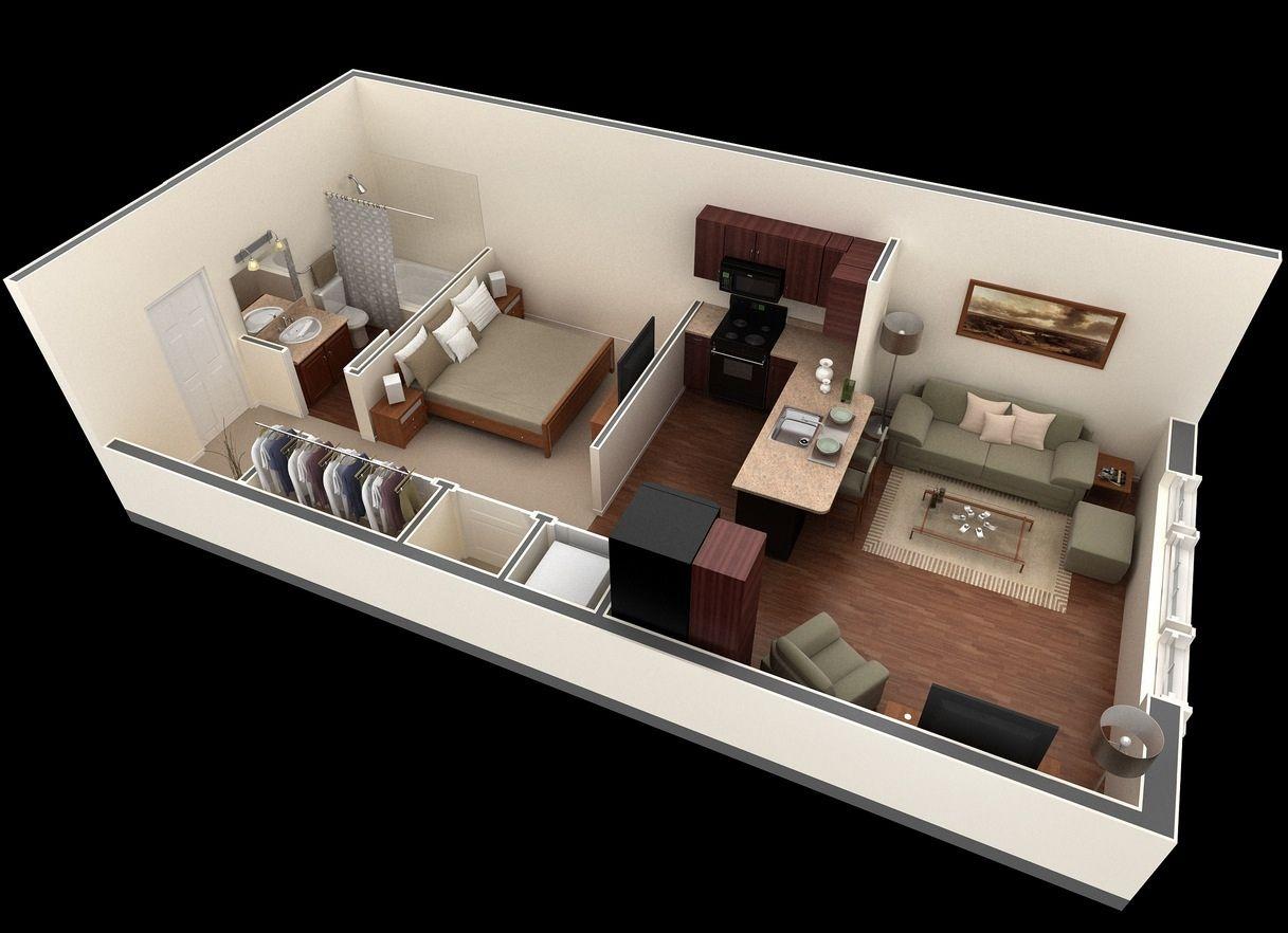 Planos de apartamentos peque os en 3d espacio peque o for Diseno de apartamento de una habitacion