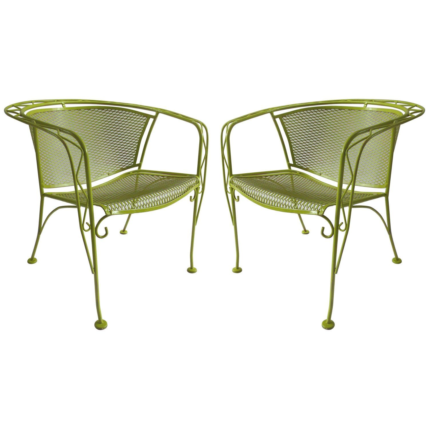 Mid-Century Modern Pair of Iron Garden Chairs by Tempestini for