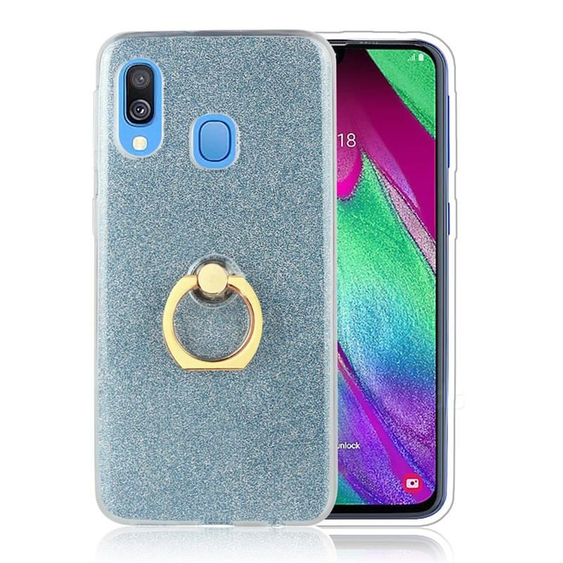 Luxury Soft Tpu Glitter Back Ring Cover With 360 Rotate Finger Holder Buckle For Samsung Galaxy A30 Blue Galaxy A30 Cases Guuds Samsung Galaxy Samsung Pink Galaxy