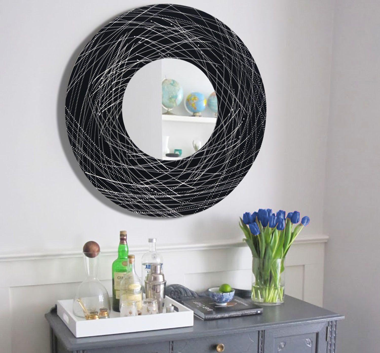 Black u0026 Silver Metal Wall Art Mirror | Mirrors | architecture | interior design | modern & Black u0026 Silver Metal Wall Art Mirror | Mirrors | architecture ...