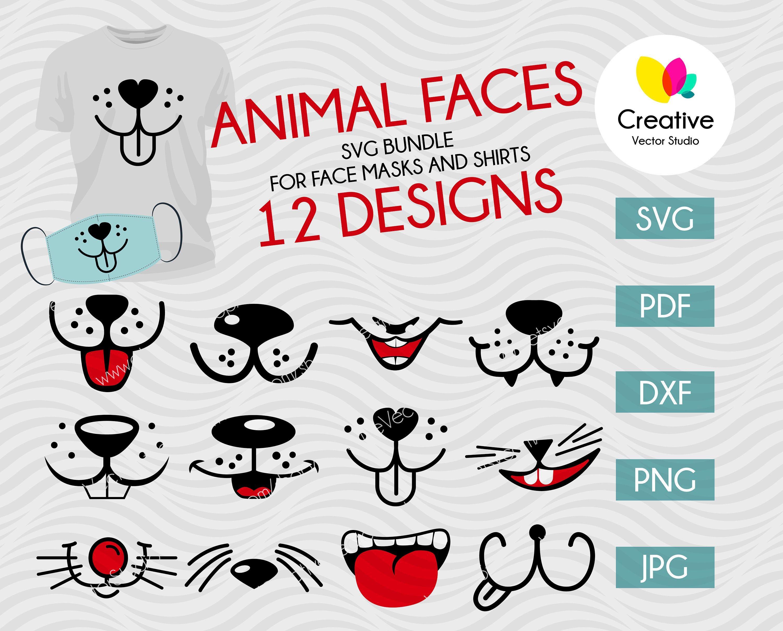Funny Animal Mouth SVG Bundle for Face Masks or Shirt Cat