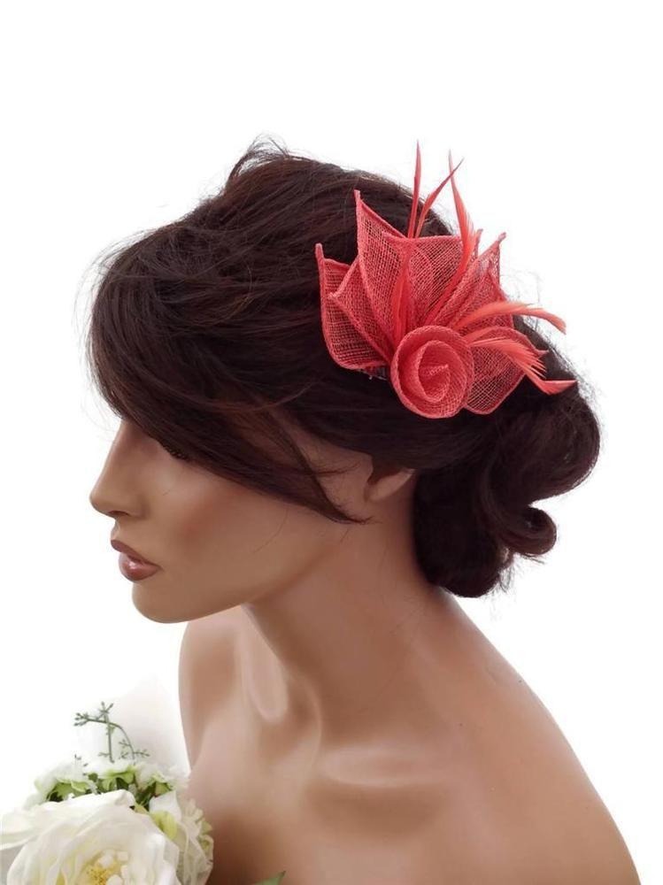 Elegant Coral Hair Clip Grip Fascinator in a Flower Design Small ... 0703230d085