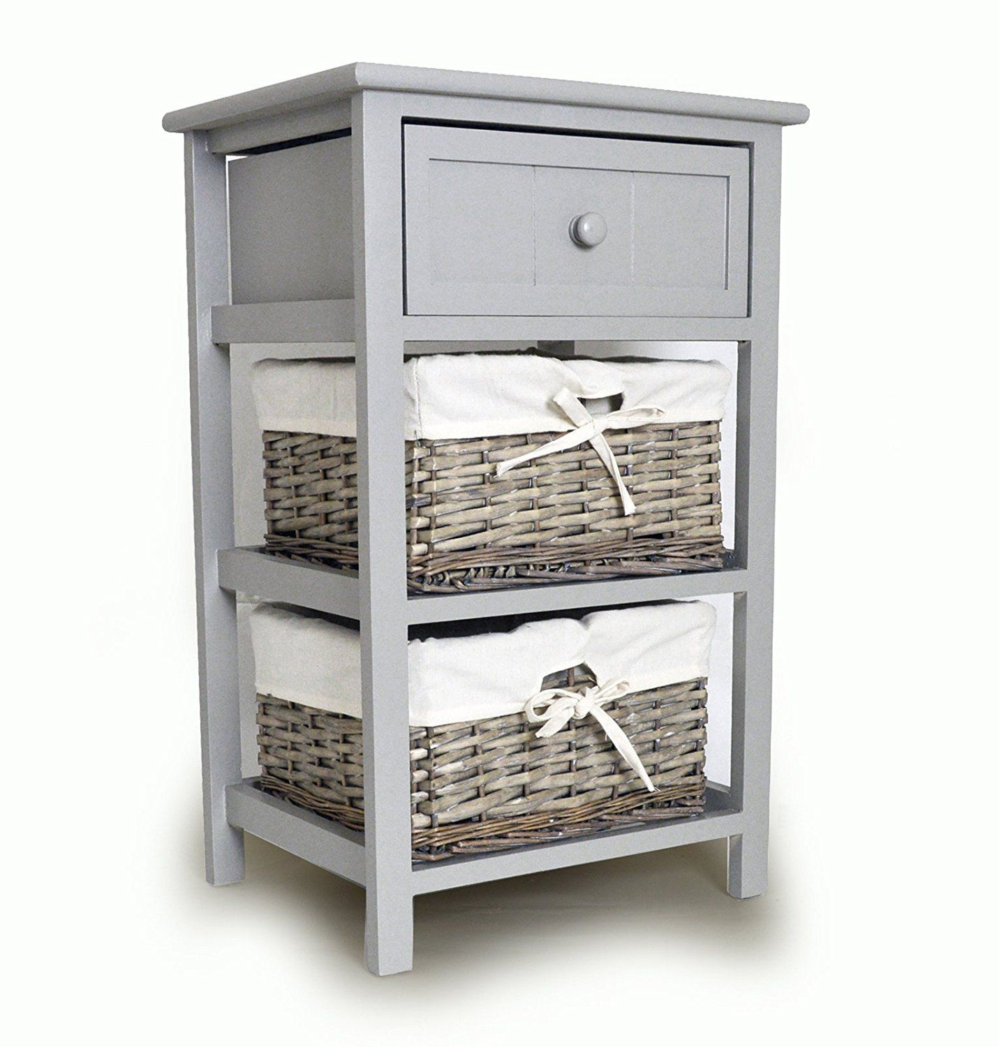 Tall Grey Bedside Unit Table With 2 X Wicker Storage Drawers: Amazon.co.