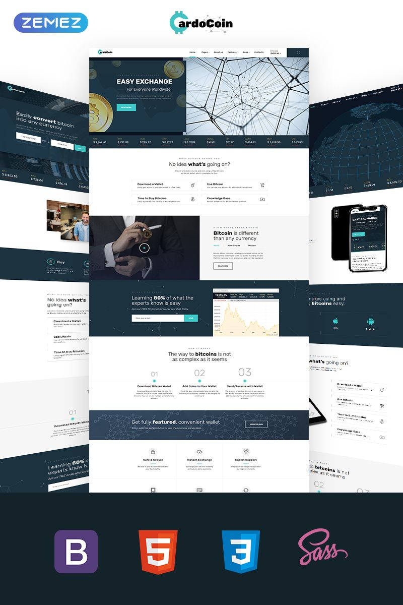 Bitcoin Multipage Html5 Template Website Template Html5 Templates Website Template Design