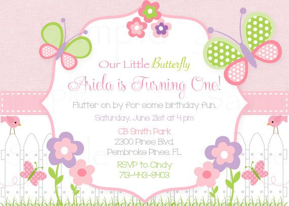 Girls First Birthday Pink Butterfly Flower Garden Birthday