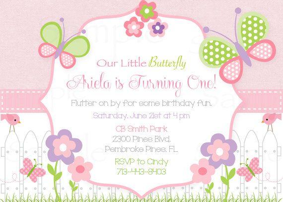 Girls First Birthday Pink Butterfly Flower Garden Invitation