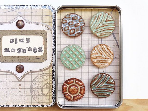 Ceramic Magnet Set Rustic Clay Magnet Set Of 6 Clay Magnets Ceramics Projects Clay