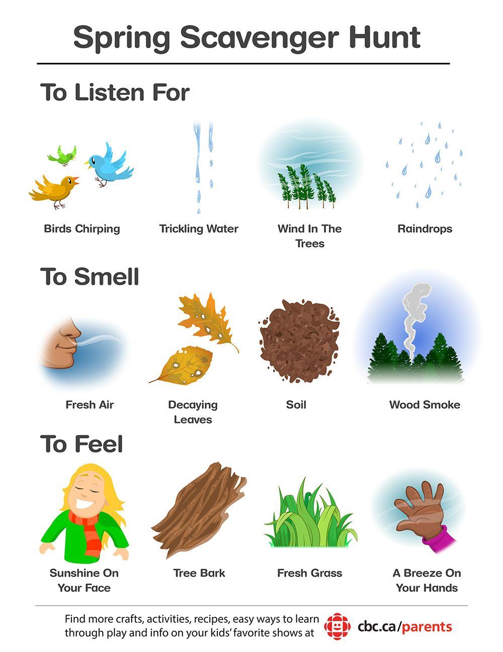 Printable Spring Scavenger Hunt With Images Preschool