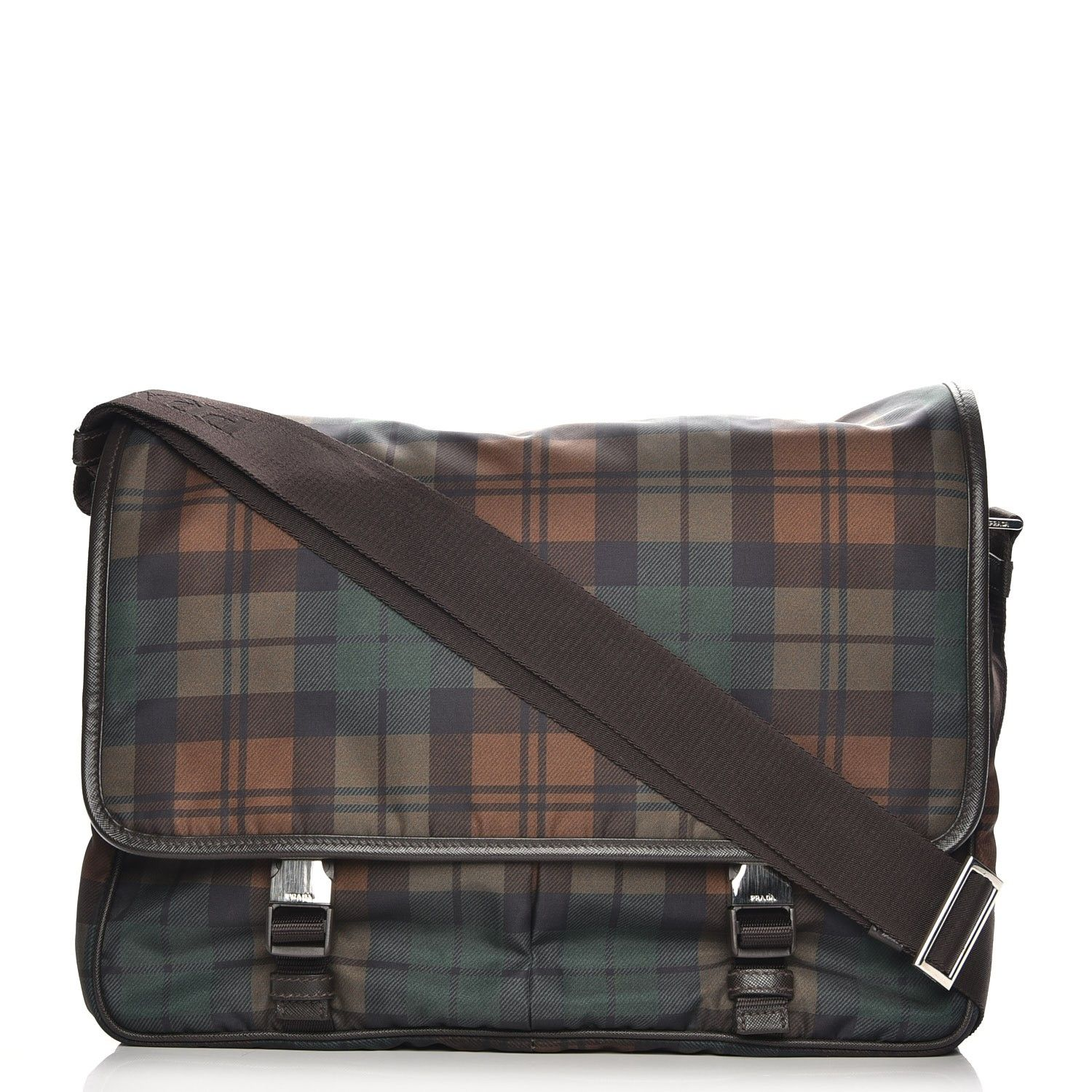 9f17f61170 This is an authentic PRADA Tessuto Scozzes Saffiano Messenger Bag in Brown  Watch. This chic