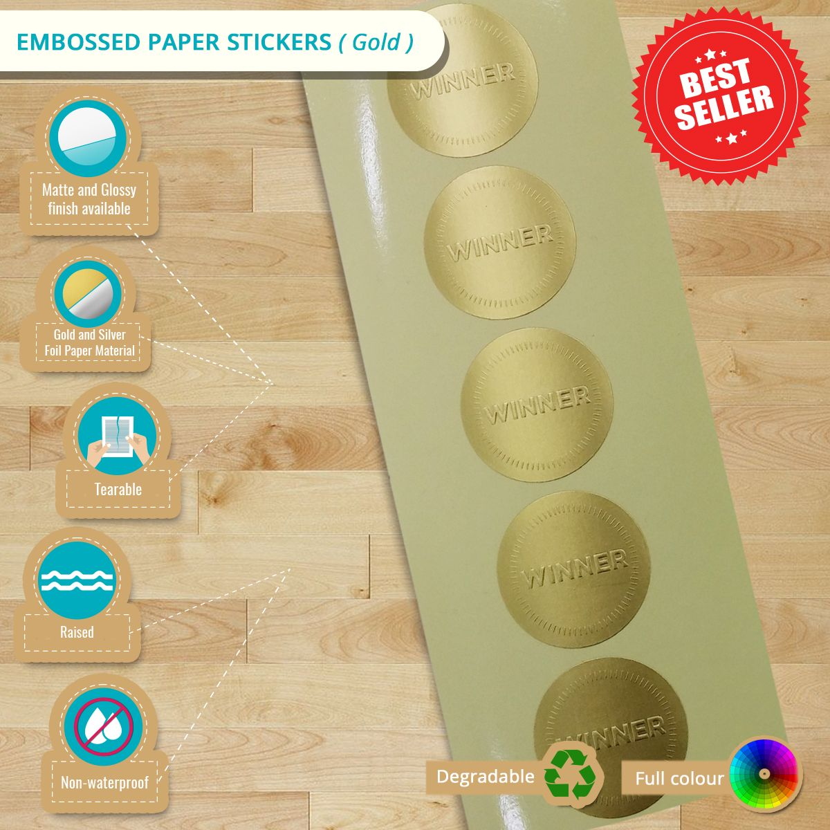 Custom Gold / Silver Embossed Paper Stickers Embossing