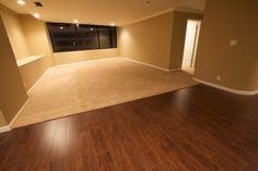 Room Half Wood Half Carpet Google Search Flooring Basement Decor Flooring Cost