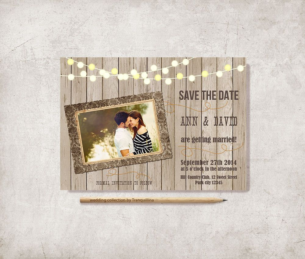 Rustic Save the Date Card Printable, Digital File - Photo Save the Date - pinned by pin4etsy.com