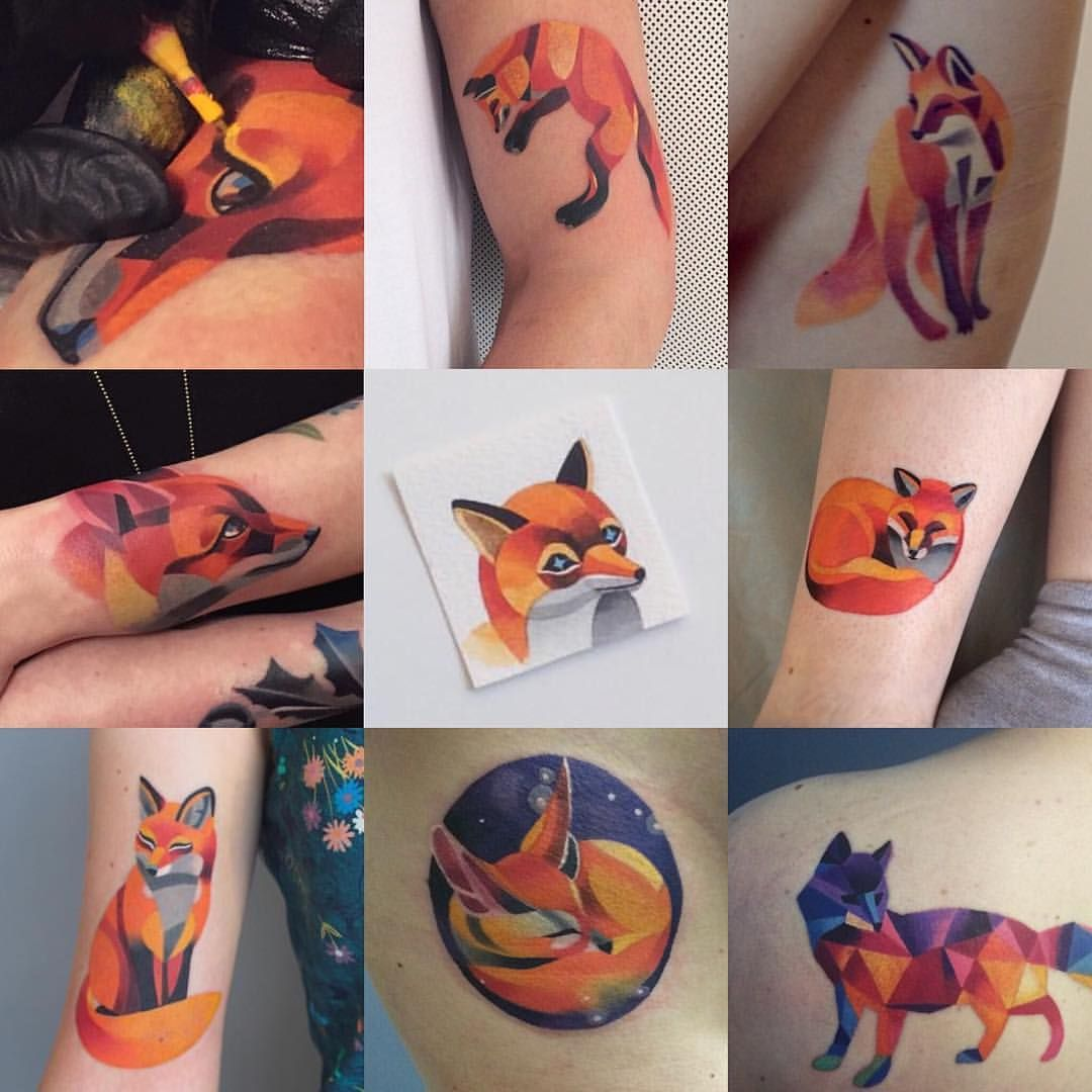 Sasha Unisex Sashaunisex On Instagram F All Of Them Are Permanent Foxtattoo Sashaunisex Foxtheworld Water Fox Tattoo Design Sasha Unisex Fox Tattoo