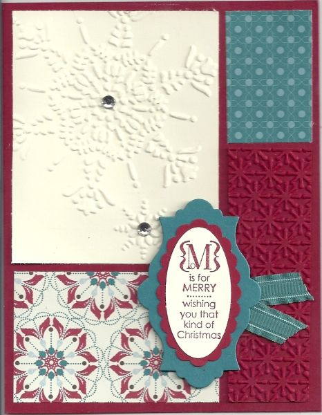 """""""M"""" is for Merry by Beth Shepherd.  What a cute color blocked Christmas card!!"""