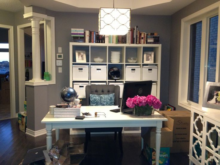 ingatorp table with charcoal chair and pop of pink dining room rh pinterest com