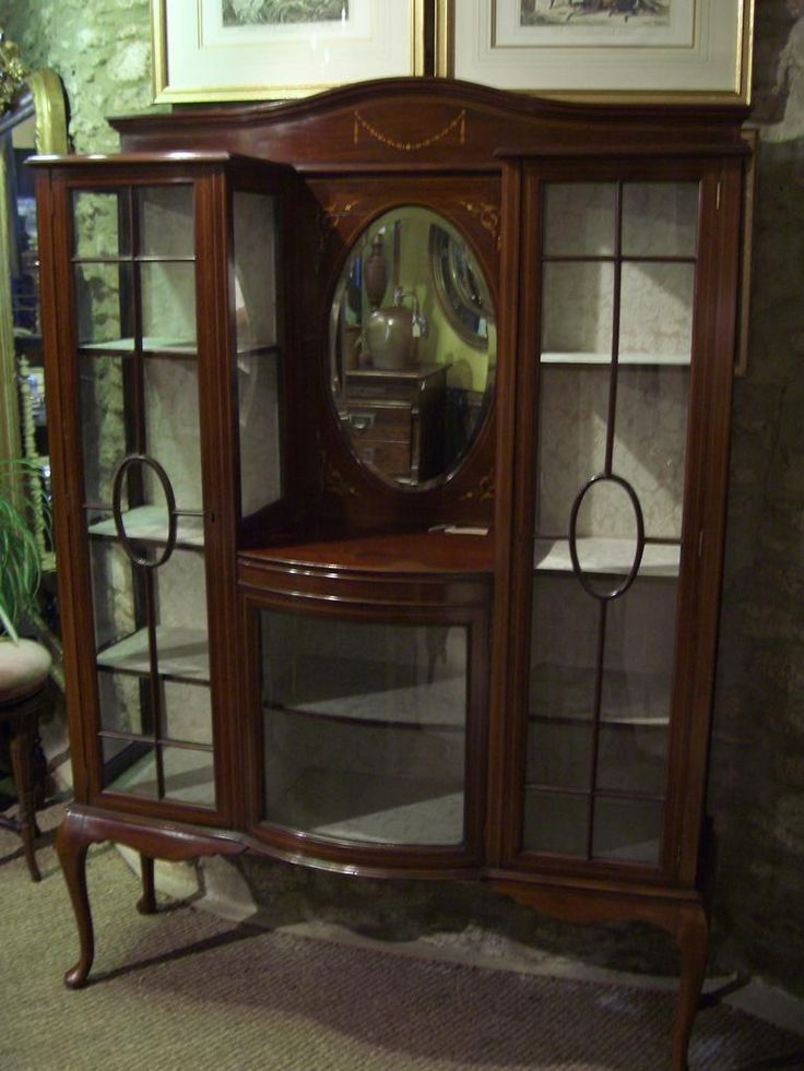 antique furniture display cabinet mahogany inlaid storage and home rh pinterest com