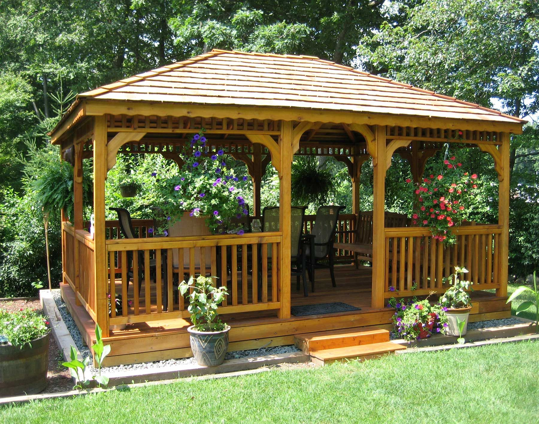 Exterior Diy Big Gazebo Design With Brick Wall And Metal Roof Top Also