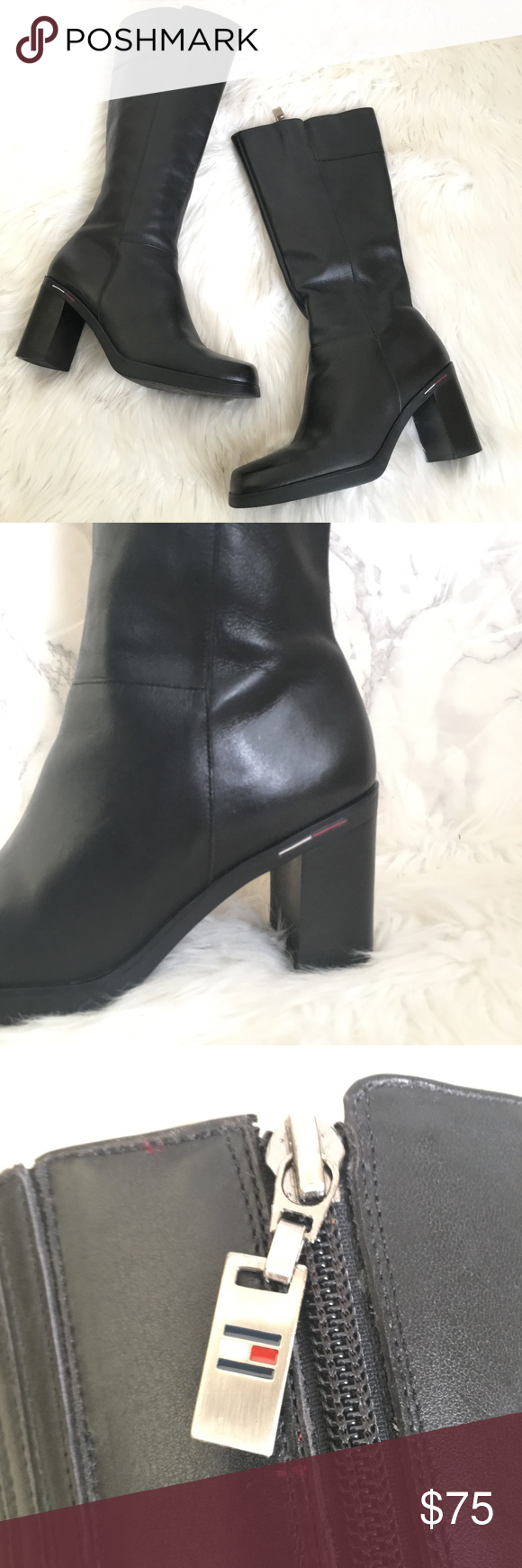 338e5f895 Vintage Tommy Hilfiger Square Toe Knee High Boots These boots are in great  condition. They