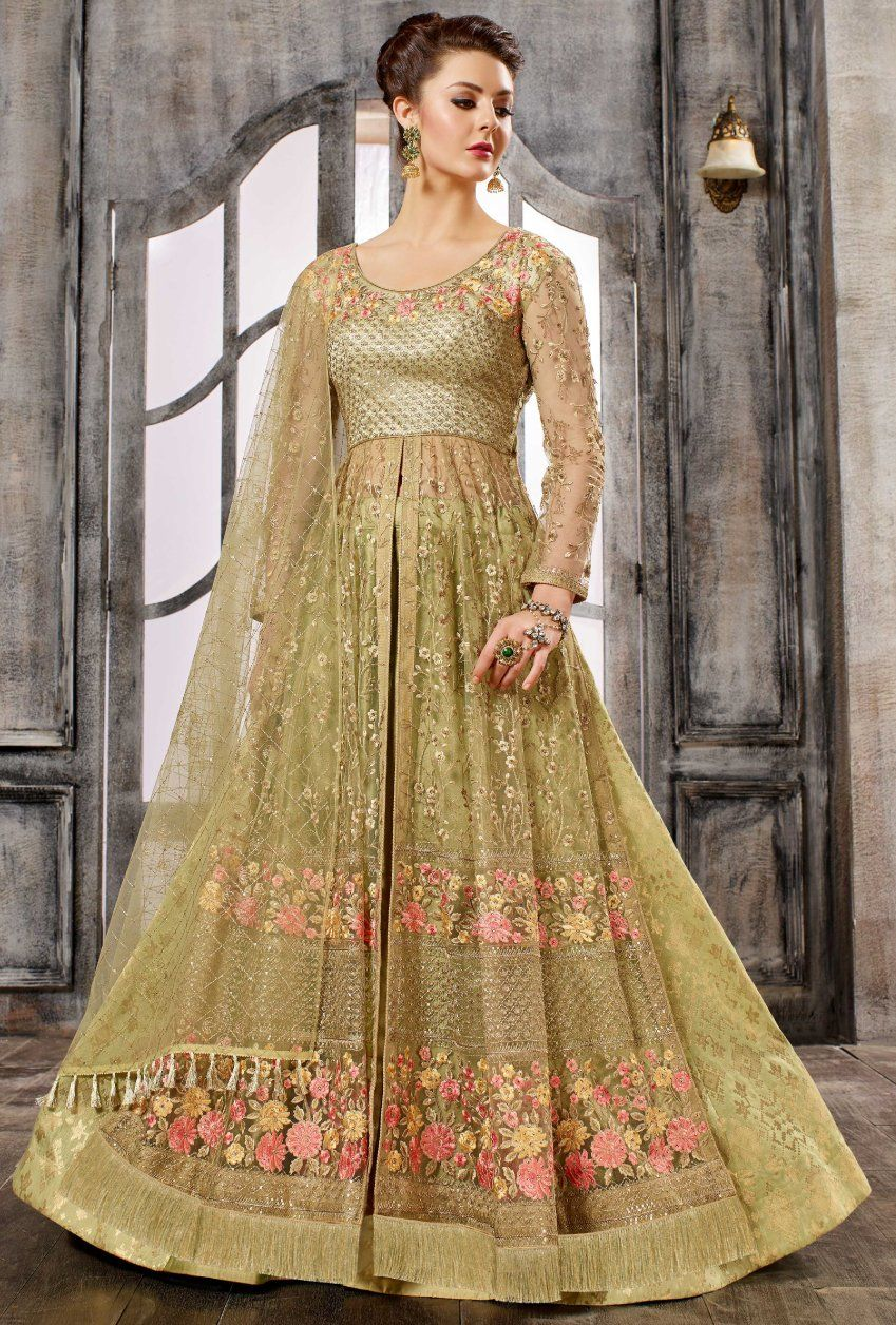 3c0722e453 Beige Gold Anarkali Dress Salwar Dress, Designer Anarkali Dresses, Salwar  Kameez, Net Lehenga