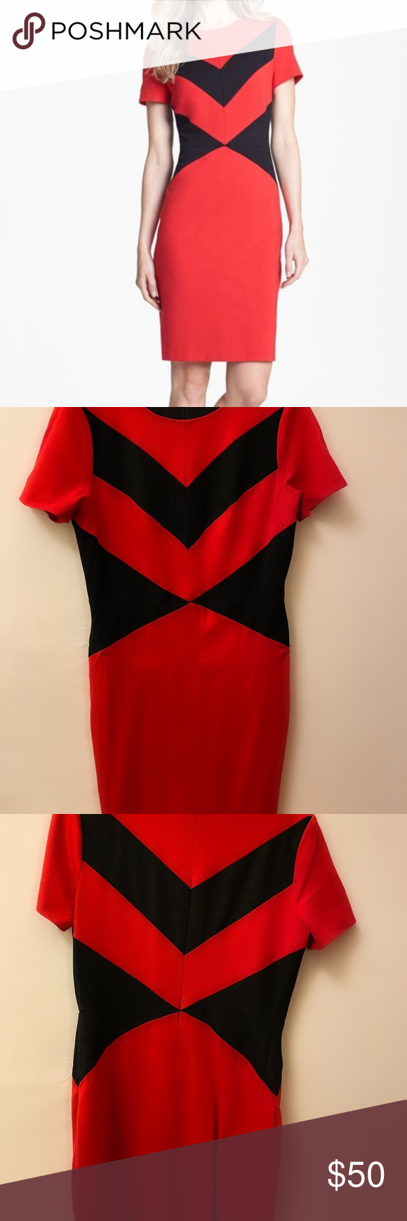 Host Pick Vince Camuto Red Black Zig Zag Dress Zig Zag Dress Clothes Design Black Striped Dress [ 1740 x 580 Pixel ]