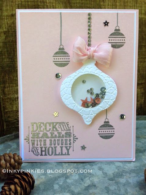 InkyPinkies: Merry Monday Challenge 113 - Deck the Halls. Shaker Card with In-Color Sequins.