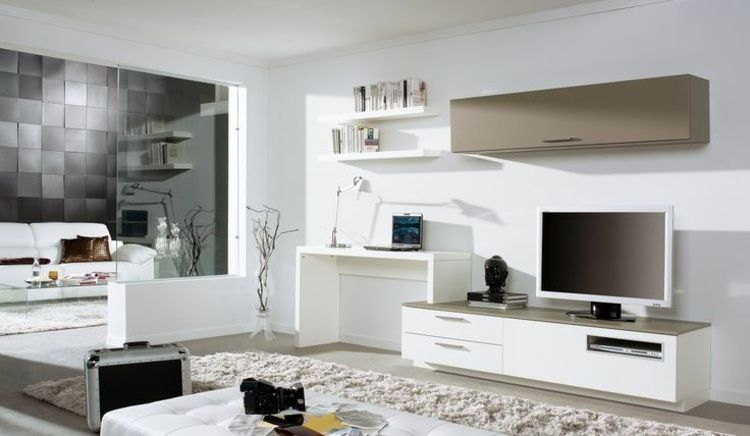 wohnwand mit schreibtisch fernseher schublaeden beige akzent wohnzimmer king queen wohnideen. Black Bedroom Furniture Sets. Home Design Ideas