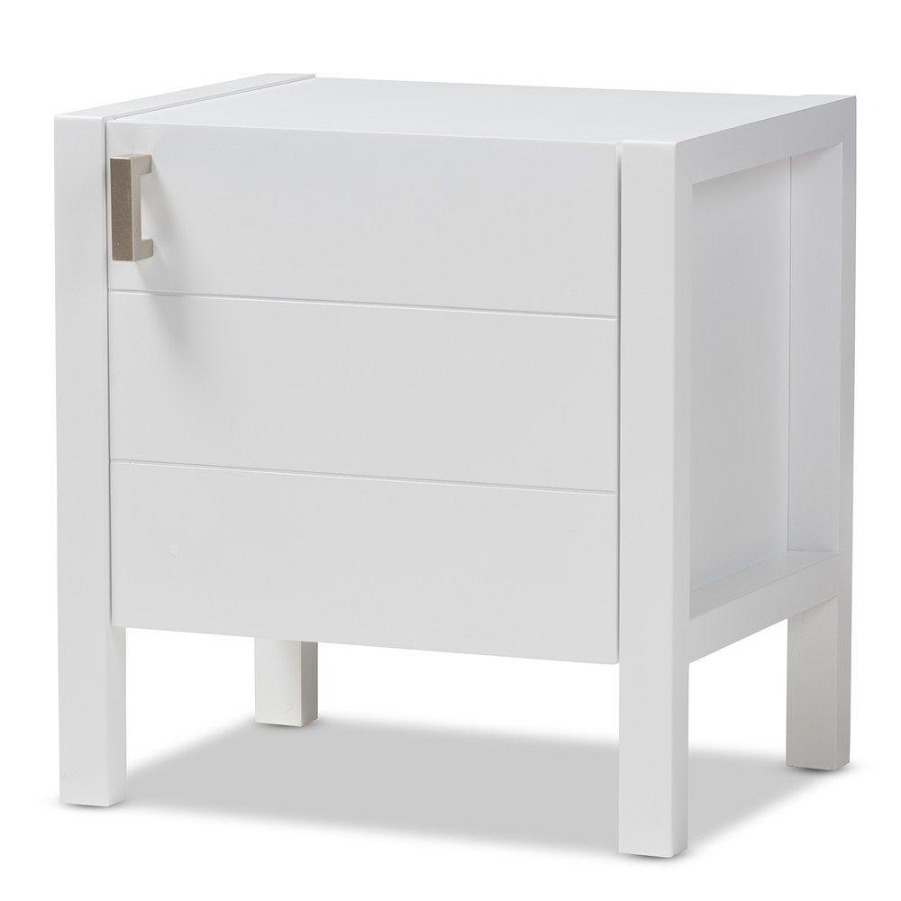 Best Baxton Studio Modern Walnut Nightstand White In 2019 400 x 300