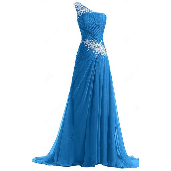 A Line One Shoulder Chiffon Sweep Train Appliques Lace Blue Prom ...