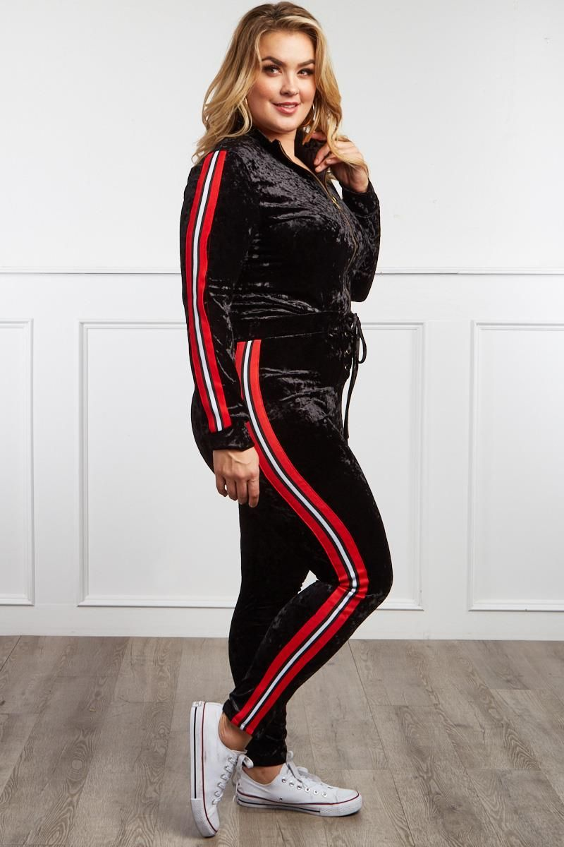 ad023c8a45cdb Detail View 3 : THE RIGHT TRACK PLUS SIZE VELOUR TRACKSUIT SET ...