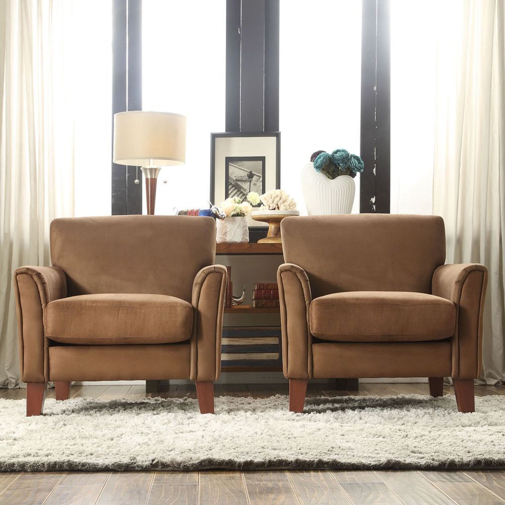modern chairs for living room%0A accent chairs  TRIBECCA HOME Uptown Mocha Microfiber Modern Arm Accent  chair  Overstock    Shopping  Great Deals on Tribecca Home Living Room  Chairs