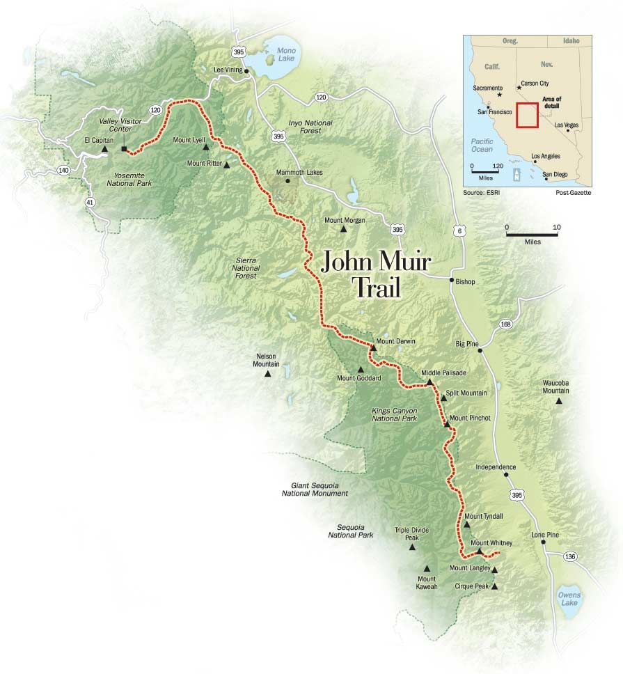 California Map Sequoia National Park%0A John Muir Trail  u     My Hiking Plans