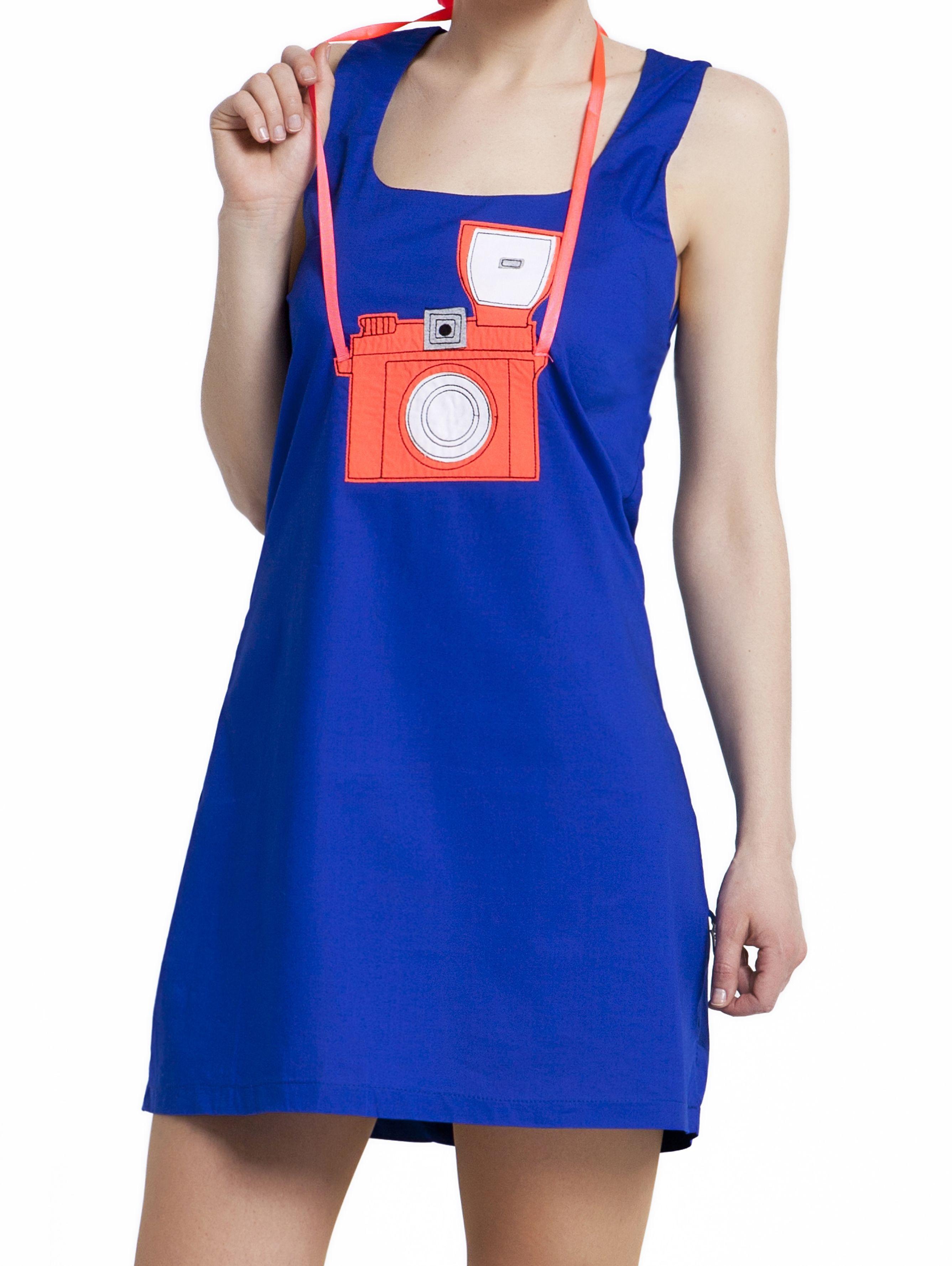 Say Cheese Camera Applique Blue Mini Dress Fotograf Makinesi