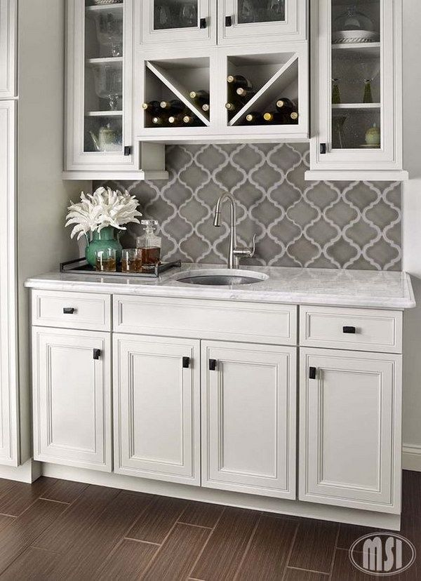 35 Beautiful Kitchen Backsplash Ideas White cabinets, Mosaics and