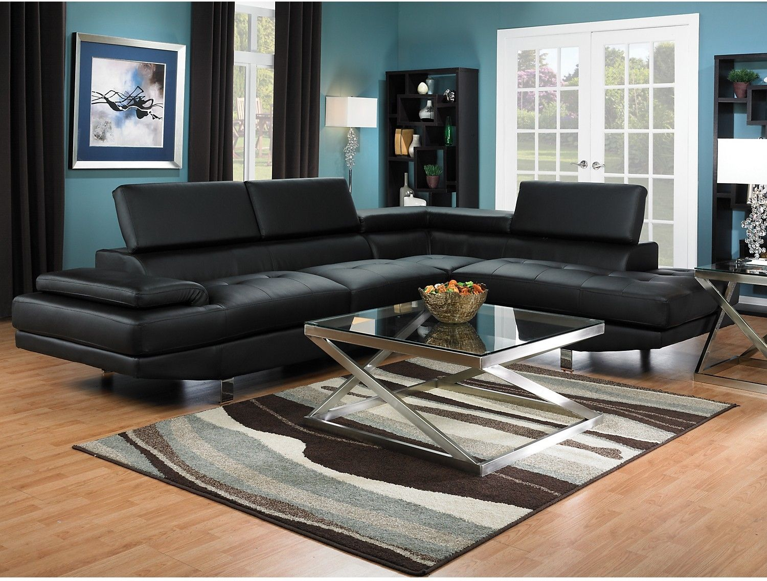 Zane Faux Leather 2 Piece Sectional With Right Facing