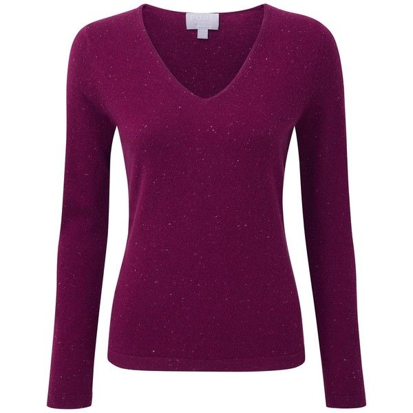 Pure Collection Grady Cashmere V-Neck Jumper, Berry Fleck ($130 ...