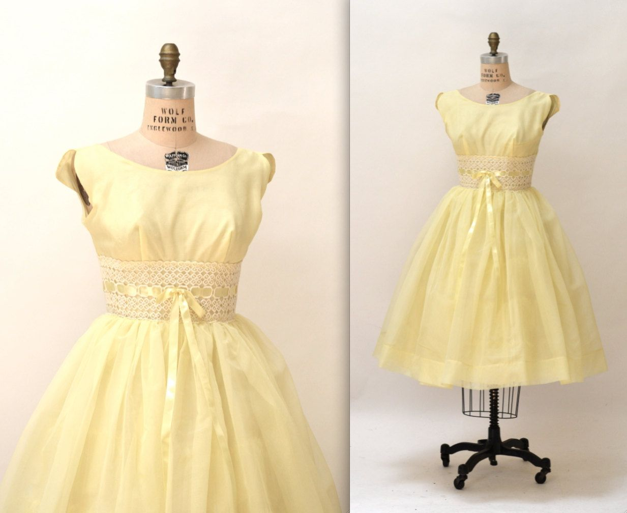 S vintage prom dress crinoline s party dress in yellow size