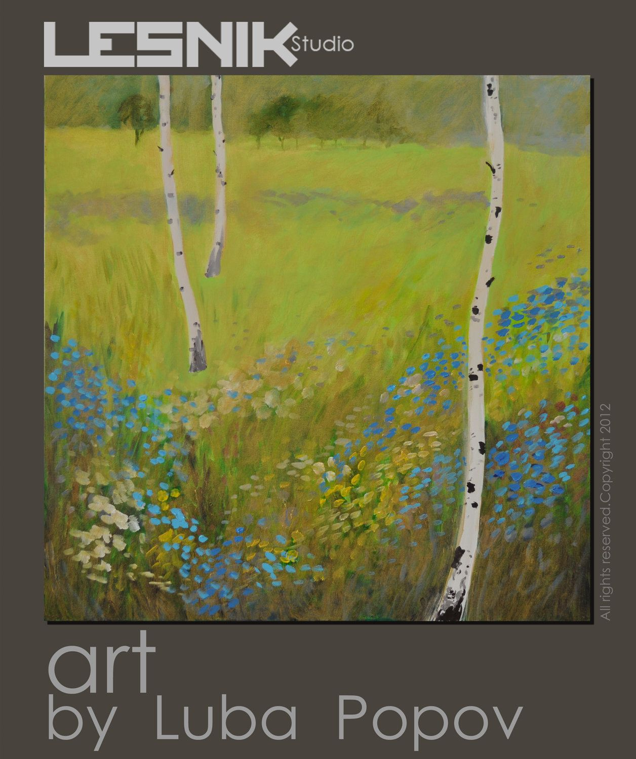 SALE Extra Large Painting Birch Tree in style of Gustav Klimt ...