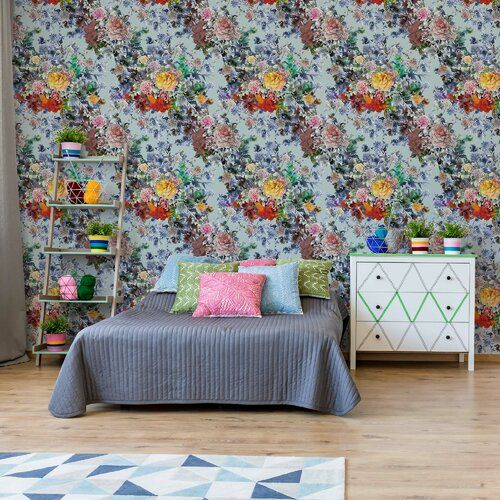 Modern Tropical Pattern 6 <a href=http://3.12m/>3.12m</a> x <a href=http://2.19m/>2.19m</a> Semi-Gloss Wall Mural Brayden Studio
