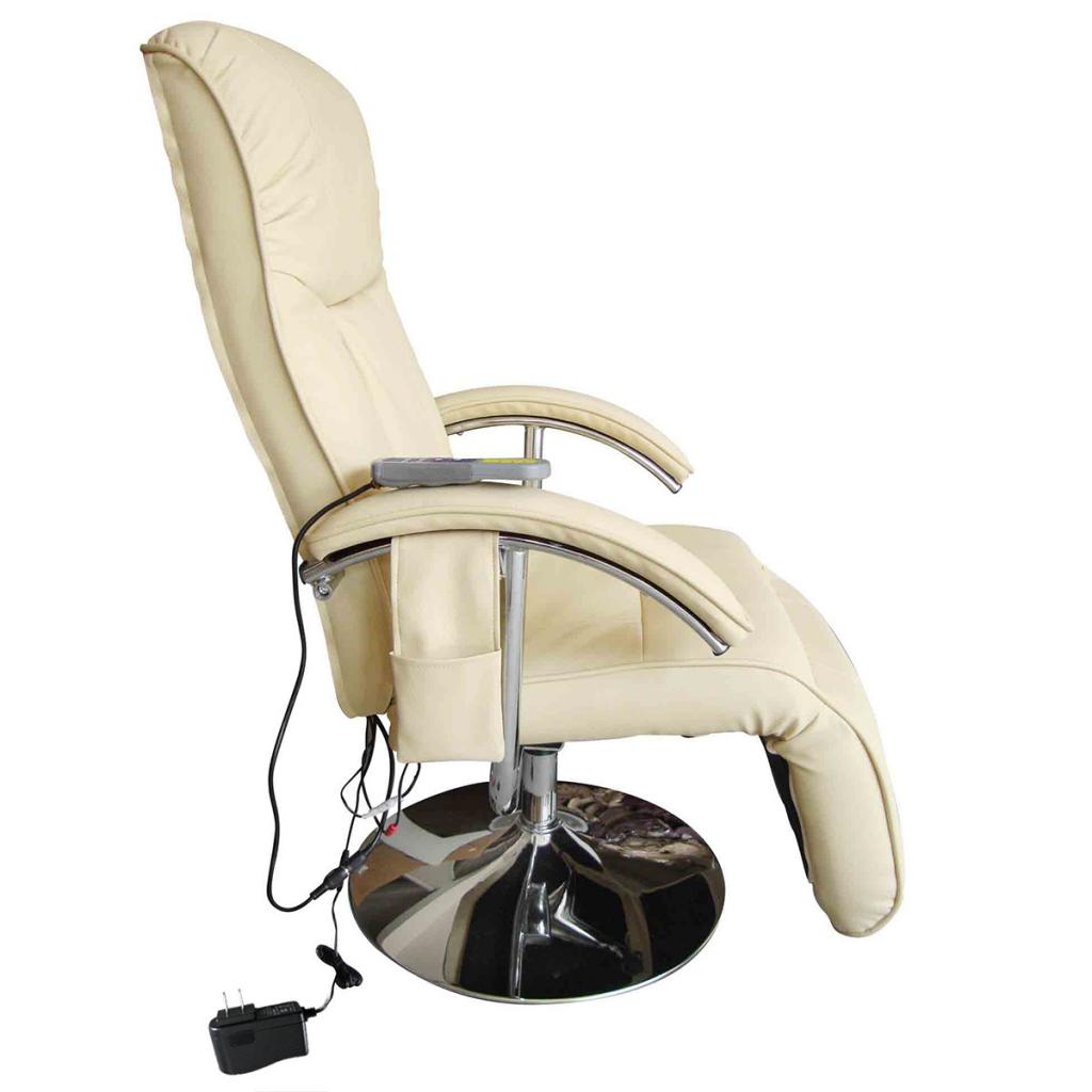 beige Cream White Electric TV Recliner Massage Chair