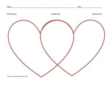 Valentine Heart-Shaped Venn Diagram in Color - Full Page G ...