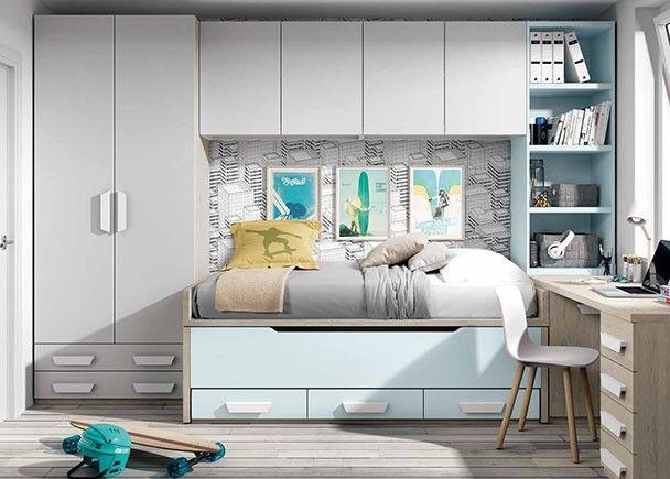 Dormitorio juvenil con 2 camas armario y zona de estudio for Muebles juveniles zona sur