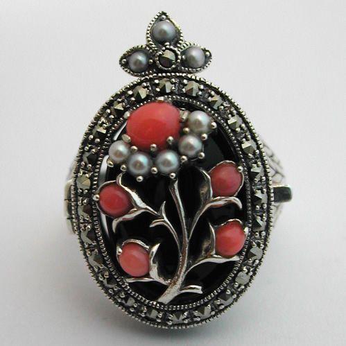 Bague argent et pendentif - Corail perles de culture onyx