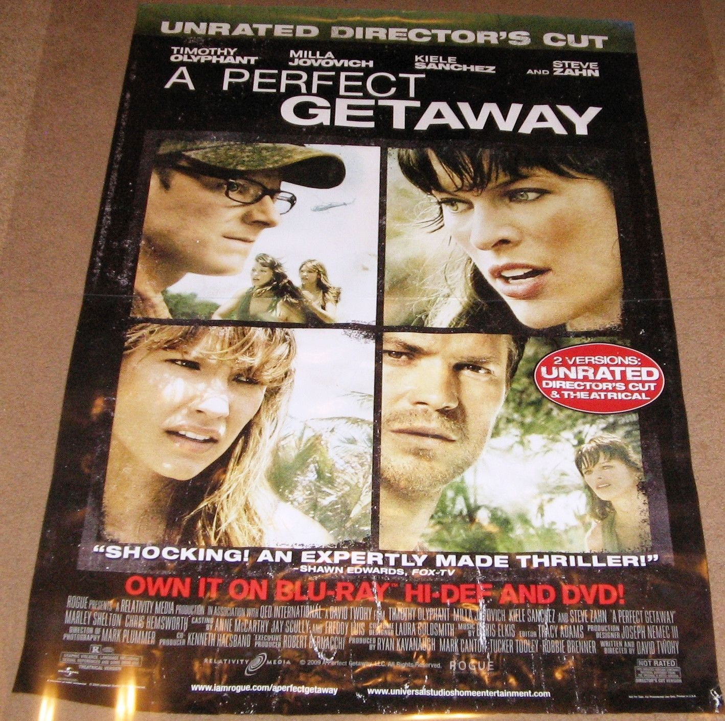 A Perfect Getaway Movie Poster 27x40 Used Webster Williams, Matt ...